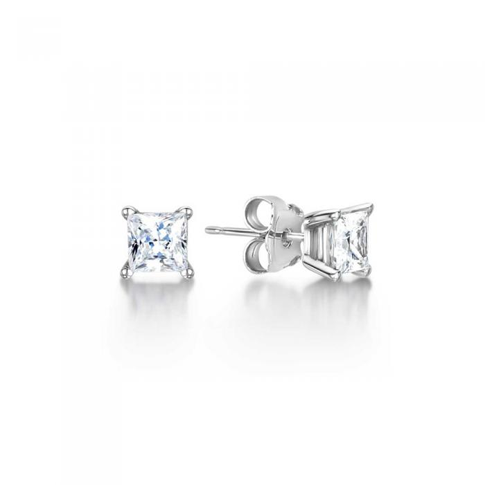 Four Claw Princess Cut Diamond Solitaire Stud Earrings