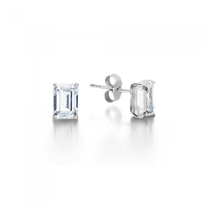 Zara Emerald Cut Diamond Solitaire Stud Earrings